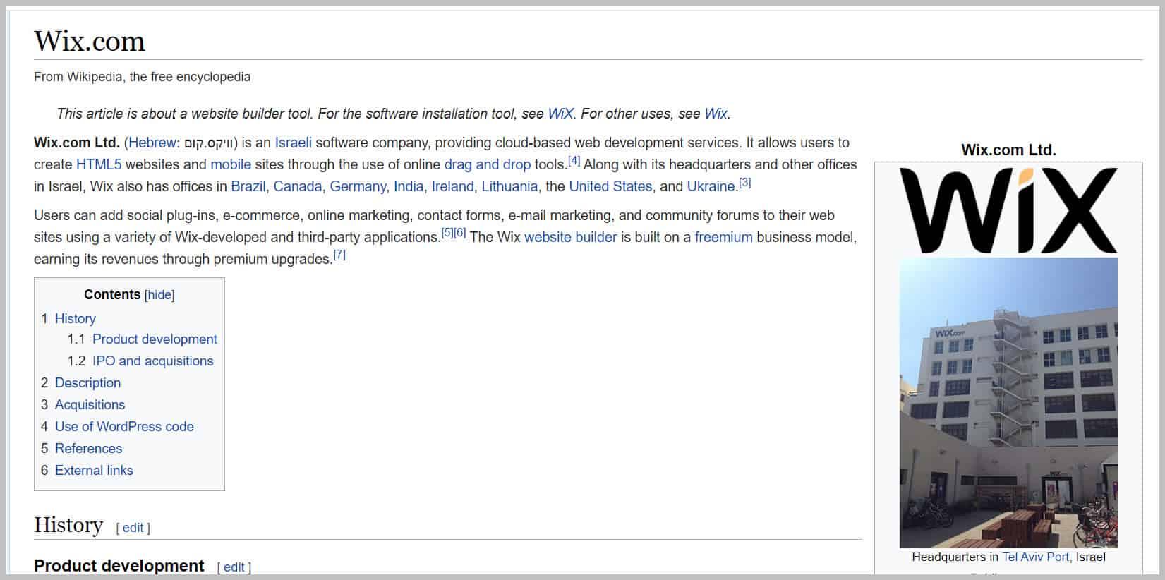 Wix On Wikipedia